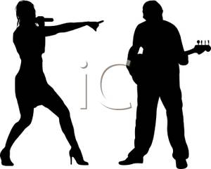 300x241 Silhouette Of A Duo Act Performing Music On A Stage