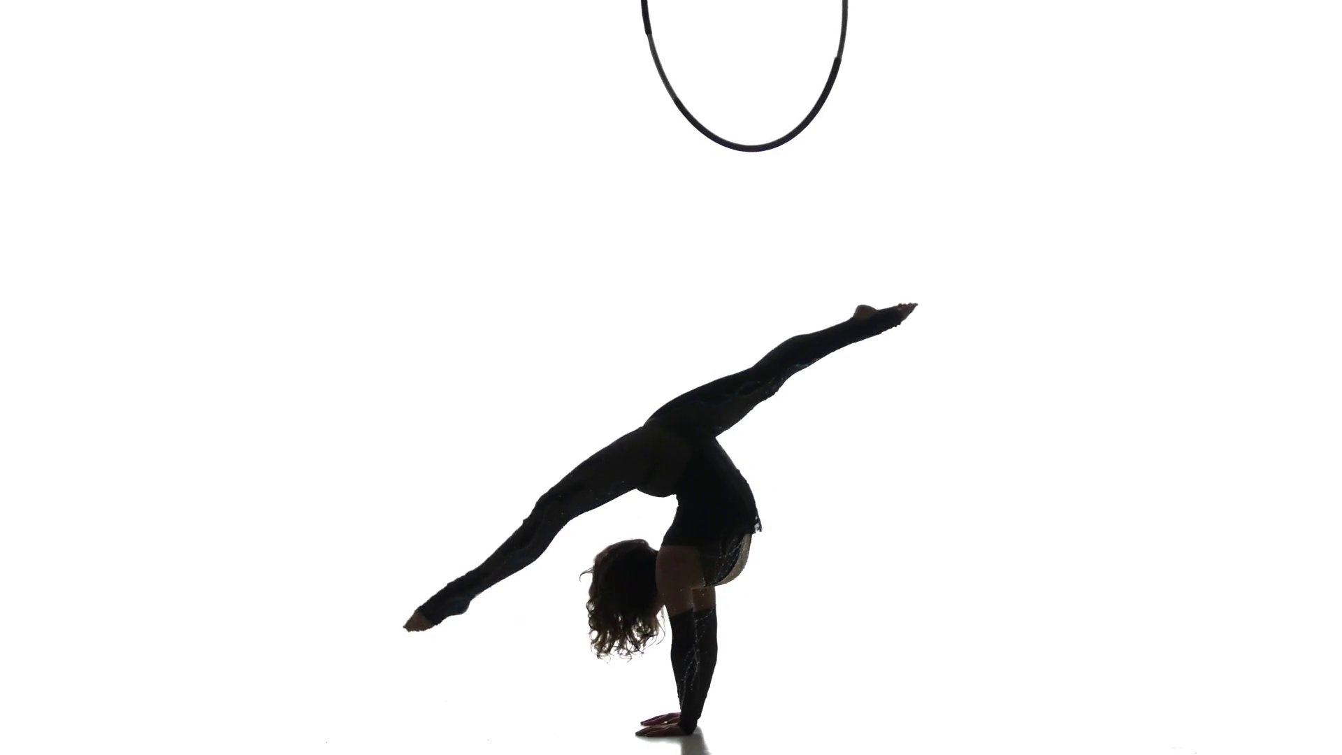 1920x1080 Aerial Acrobat Man On Circus Stage. Silhouette On A Blue