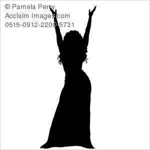 300x300 Art Illustration Of Silhouette Of A Female Entertainer Onstage