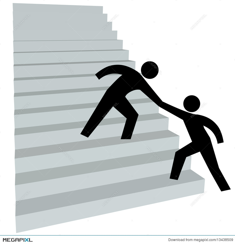 800x830 Helping Hand To Help Friend Up On Stairway To Top Illustration
