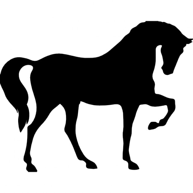 626x626 Horse Standing On Three Paws Black Shape Of Side View Icons Free