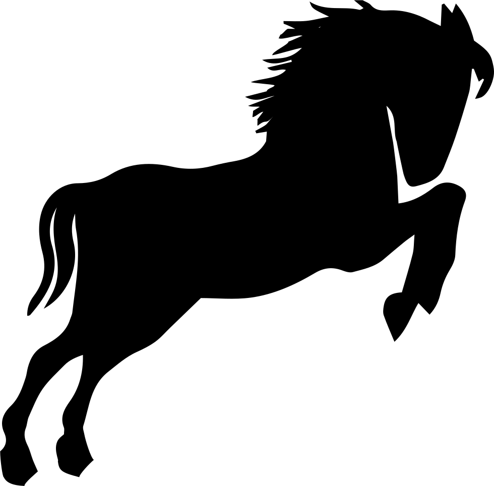 980x964 Wild Horse Black Silhouette Looking To Right Standing On Back Paws