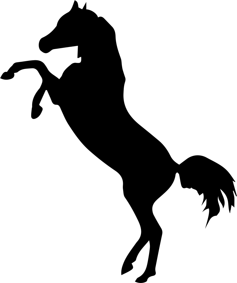820x981 Horse Standing On Two Back Paws Black Side View Silhouette Svg Png