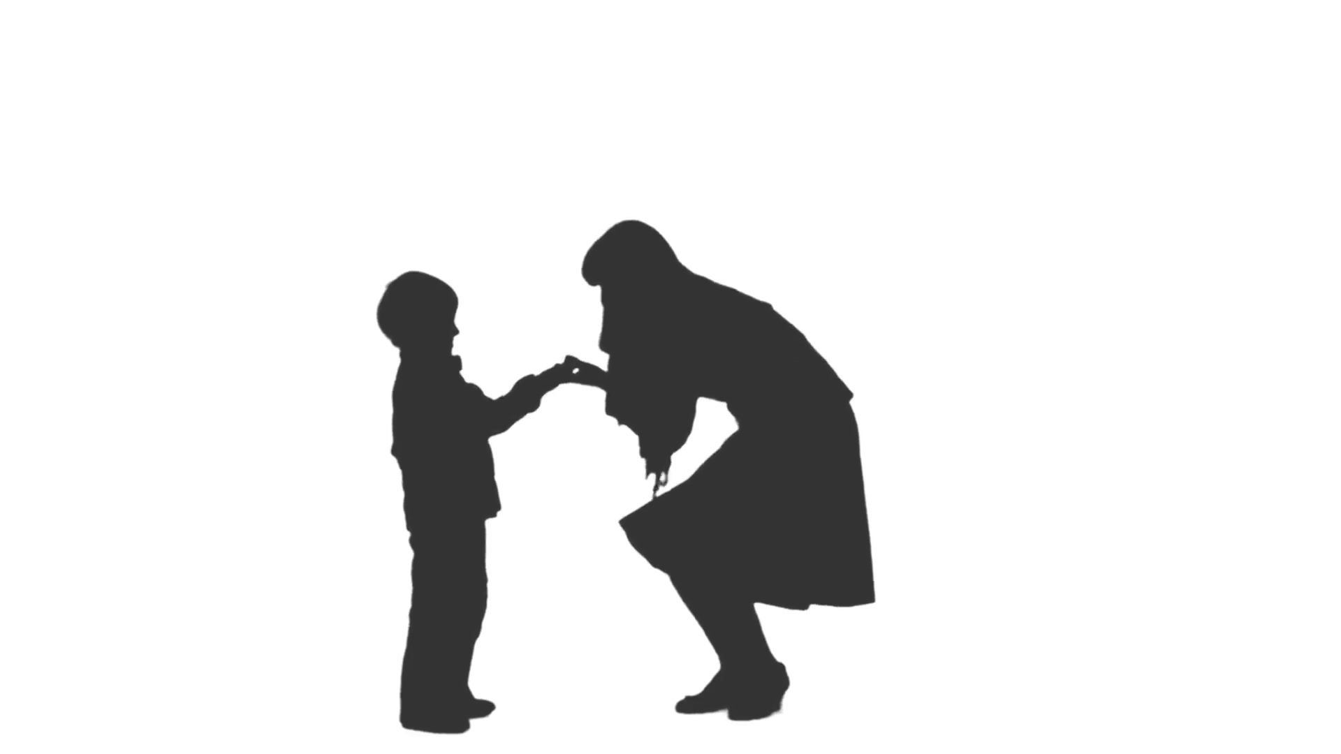 1920x1080 Silhouette Of A Woman Amp Child Standing And Showing Something. Side