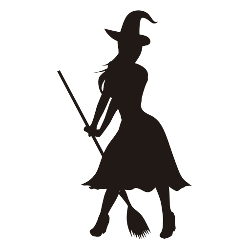 512x512 Young Lady Witch Silhouette