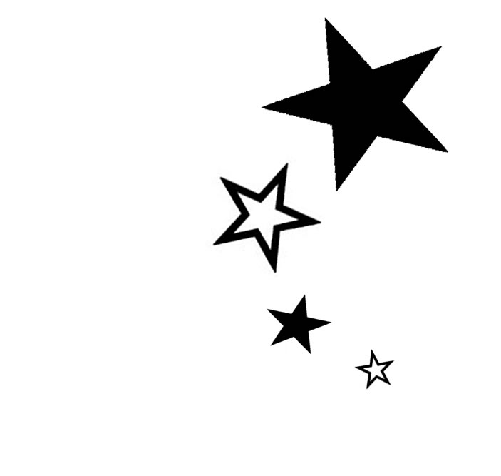 703x667 Outline And Black Silhouette Star Tattoos Designs