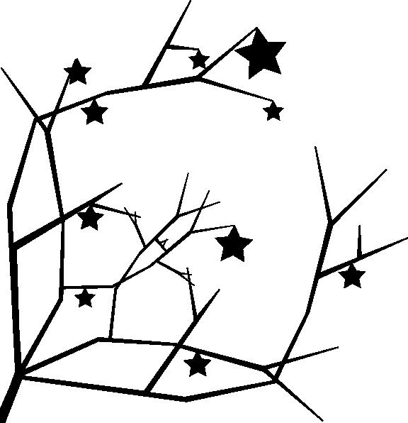 576x596 Tree Stars Silhouette Clip Art