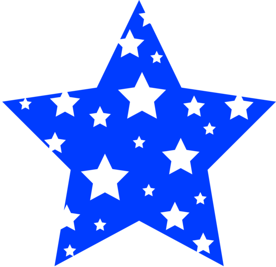 550x532 Blue Star Patterned With White Stars Silhouette