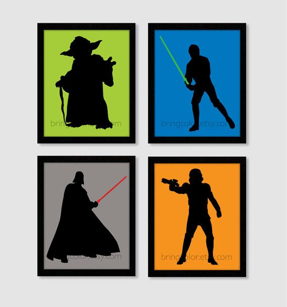 570x609 Star Wars Characters Silhouettes Set Of 4 8x10 Digital Wall Art