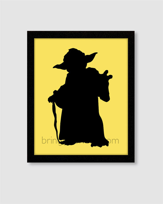 570x713 Star Wars Yoda Silhouette Wall Art Print 8x10 For Boys Room