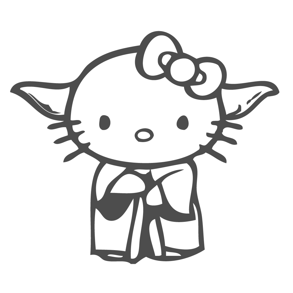 1024x1025 Hello Kitty Yoda Disguise Decal Vinyl Sticker, From The Movie Star