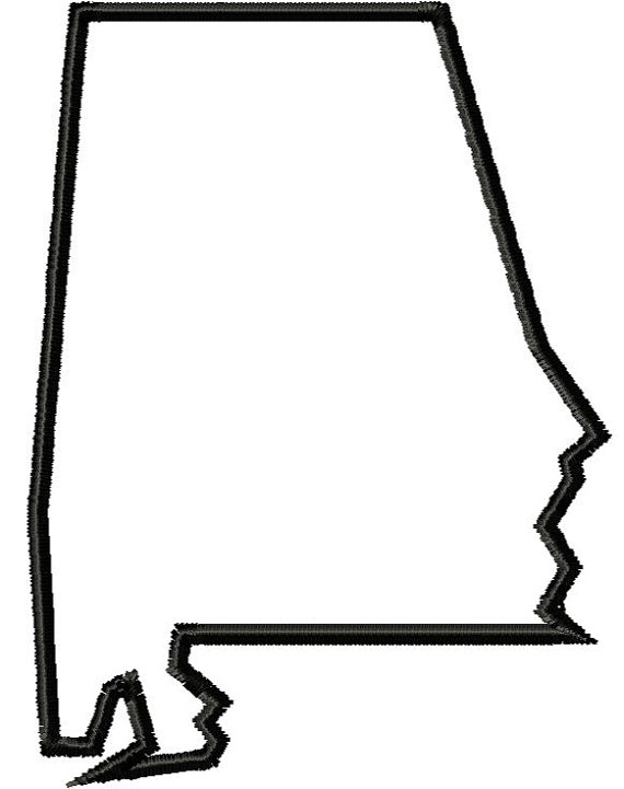 570x721 Digitized State Of Alabama Outline Embroidered Letter