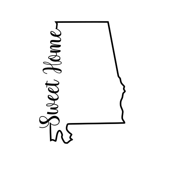 570x570 Sweet Home State Of Alabama Outline Svg Or Silhouette Instant