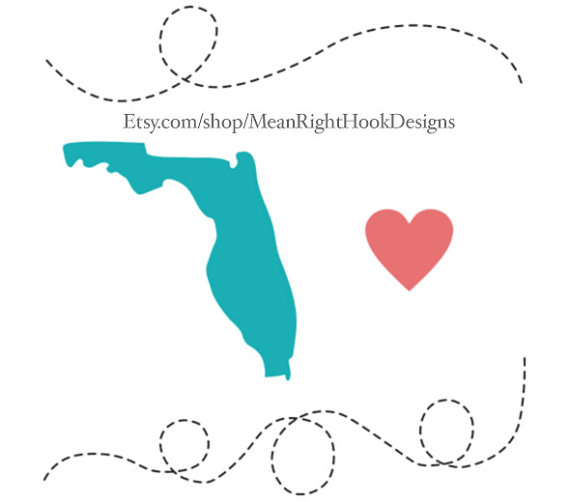 570x502 Florida Svg State Silhouette, Heart Svg, And Dotted Lines Instant