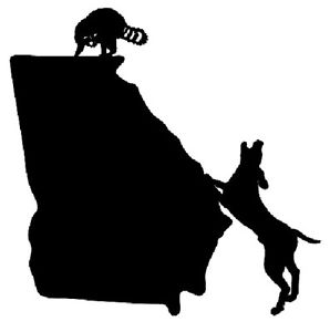 298x300 Coon Hunting Georgia State Decal, Vinyl Truck Window Stickers