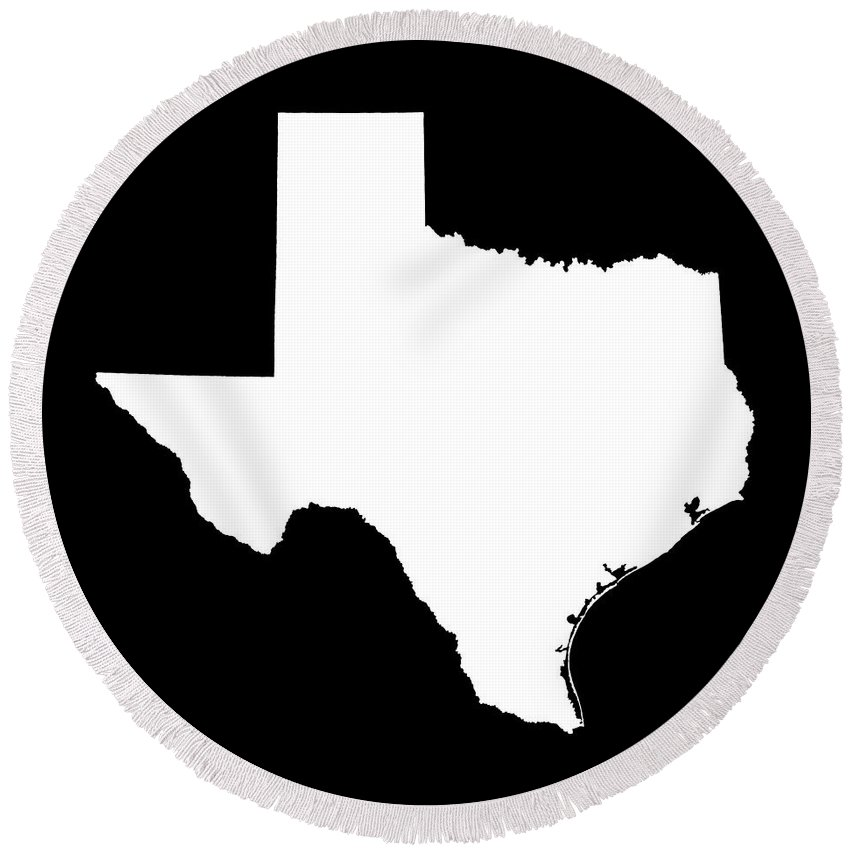 850x850 Texas State Outline Round Beach Towel For Sale By Bruce Stanfield