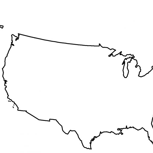 600x600 Usa Map Outline Clip Art
