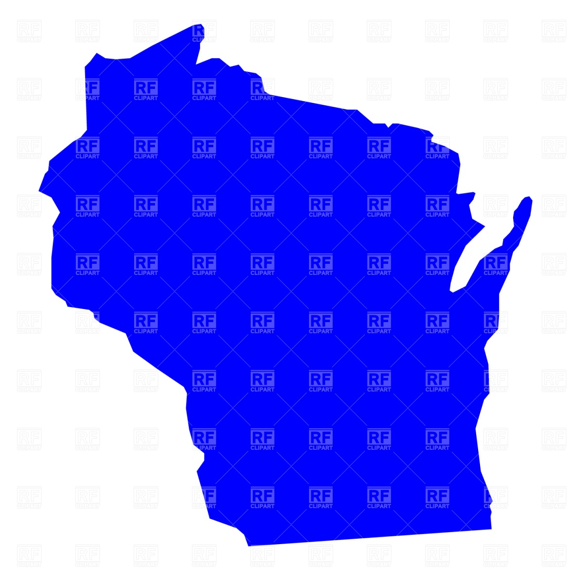 1200x1200 Wisconsin State Map Royalty Free Vector Clip Art Image