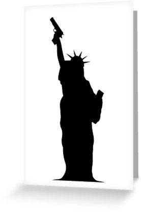 277x415 Lady Liberty With Gun Greeting Cards By Stephanizzle Redbubble