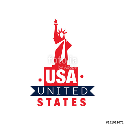 500x500 Monochrome Emblem With Statue Of Liberty Silhouette. United States
