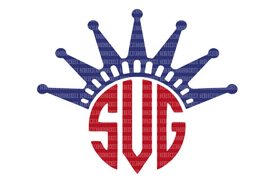 570x376 Statue Of Liberty Crown Monogram Frame Svg Files Patriotic Cut