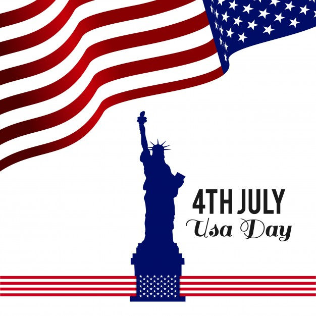 626x626 Independence Day Design With Flag And Statue Of Liberty Vector