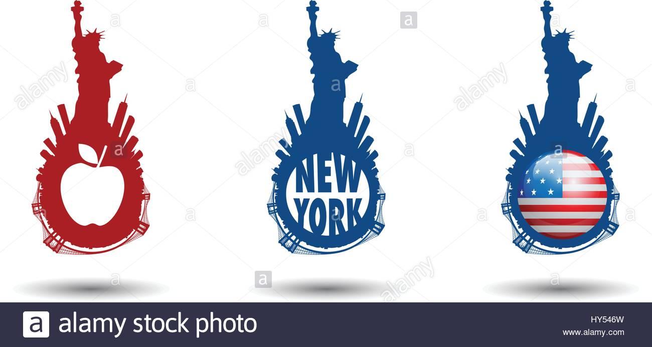 1300x692 New York City Skyline With Statue Of Liberty Vectors Series Stock