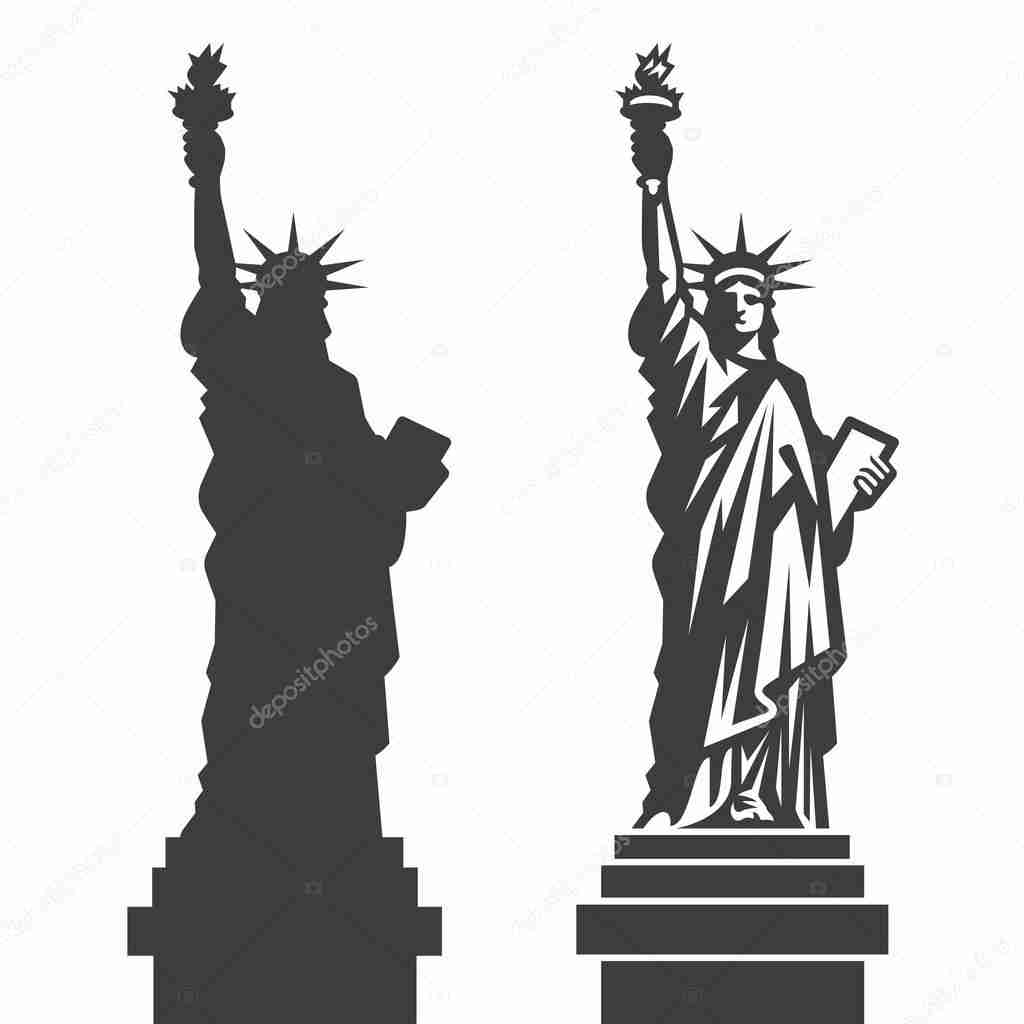 1024x1024 New York Statue Of Liberty Vector Silhouette Stock Noticeable