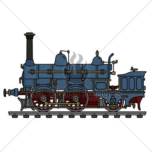 500x500 Vintage Blue Steam Locomotive Gl Stock Images