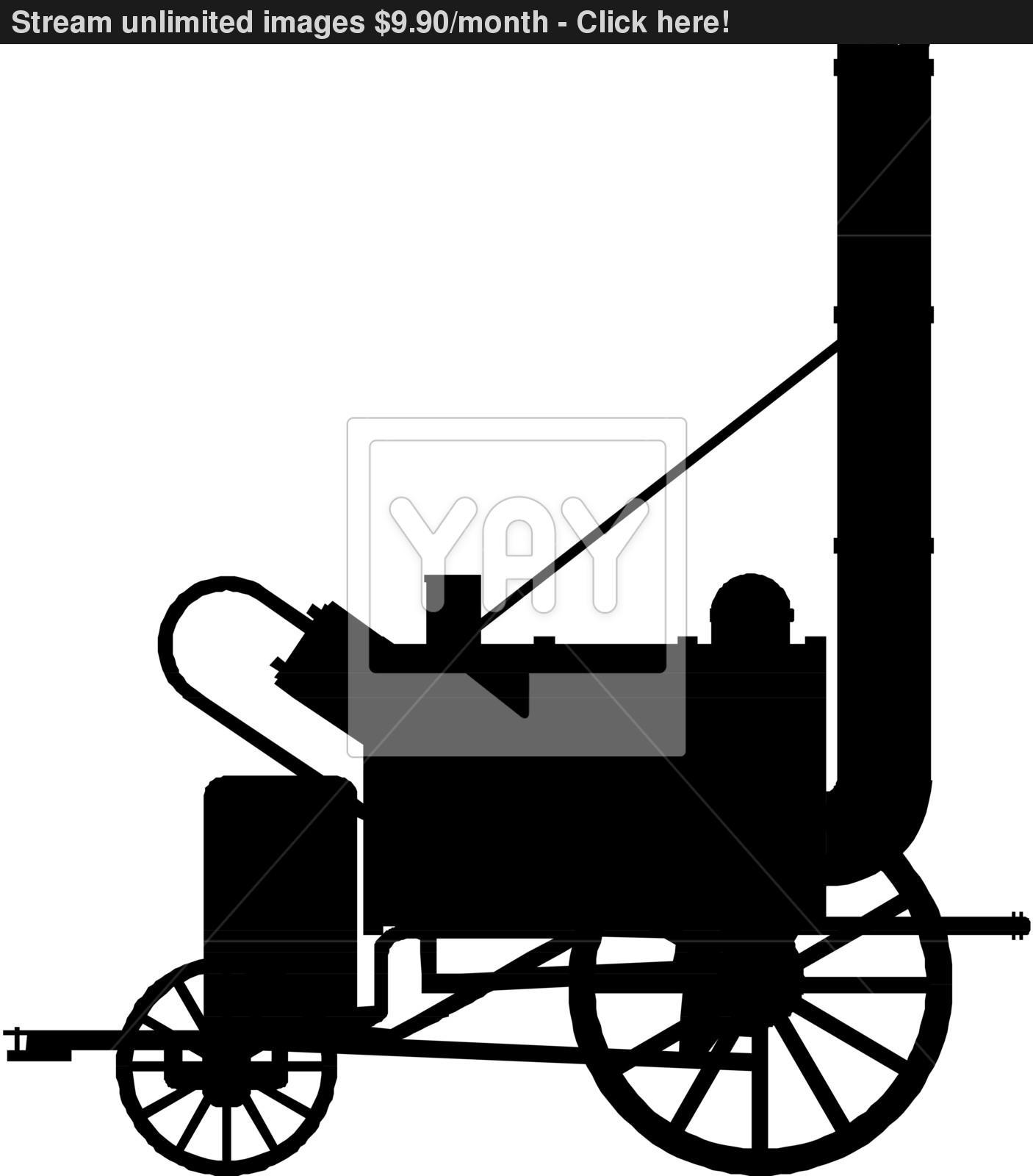 1406x1600 Vintage Steam Locomotive. Vector