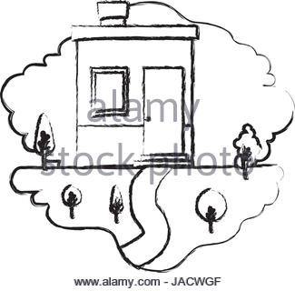 325x320 Monochrome Blurred Silhouette Scene Of Outdoor Landscape And House