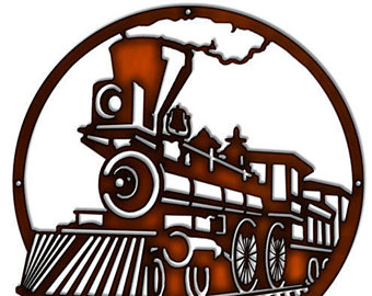 340x270 Oval Train Silhouette All Aboard. Nostalgic Laser Cut Out