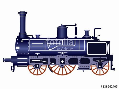 500x375 Illustration Steam Locomotive, Vector Draw Stock Image