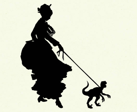 570x470 Silhouette Girl Lady With Pet Dinosaur Velociraptor Victorian