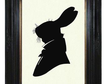 340x270 Free Steampunk Cross Stitch Patterns Silhouette Rabbit Gentleman
