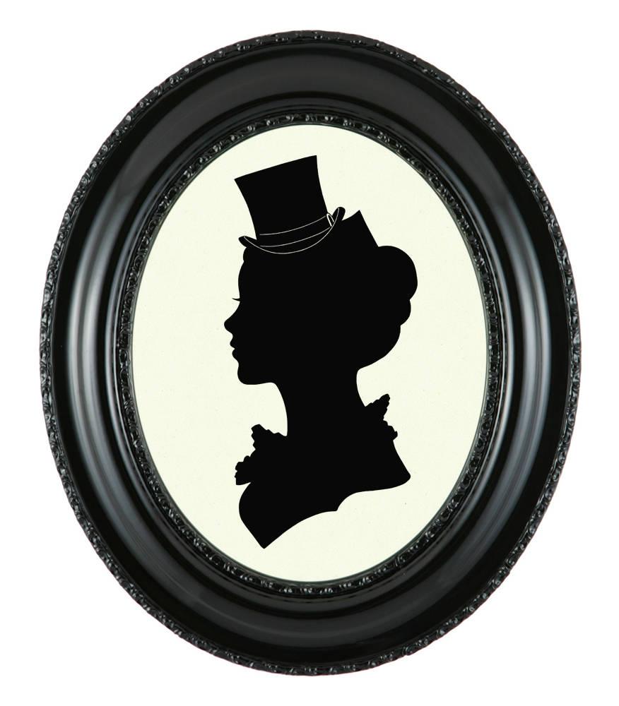 876x1000 Custom Portrait Silhouette Victorian Steampunk Art Print