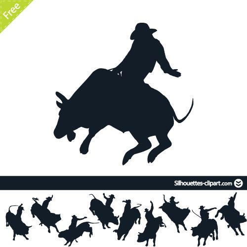 500x500 Rodeo On Bulls Vector Silhouettes Rodeo