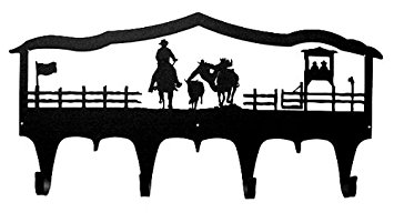 355x192 Steer Wrestling Bull Dogging Wall Mounted Coat Hook
