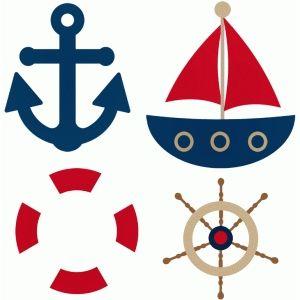 300x300 Sailor Lifesaver Steering Wheel Anchor Boat Silhouette Design