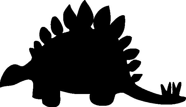 600x346 Stegosaurus Black Clip Art