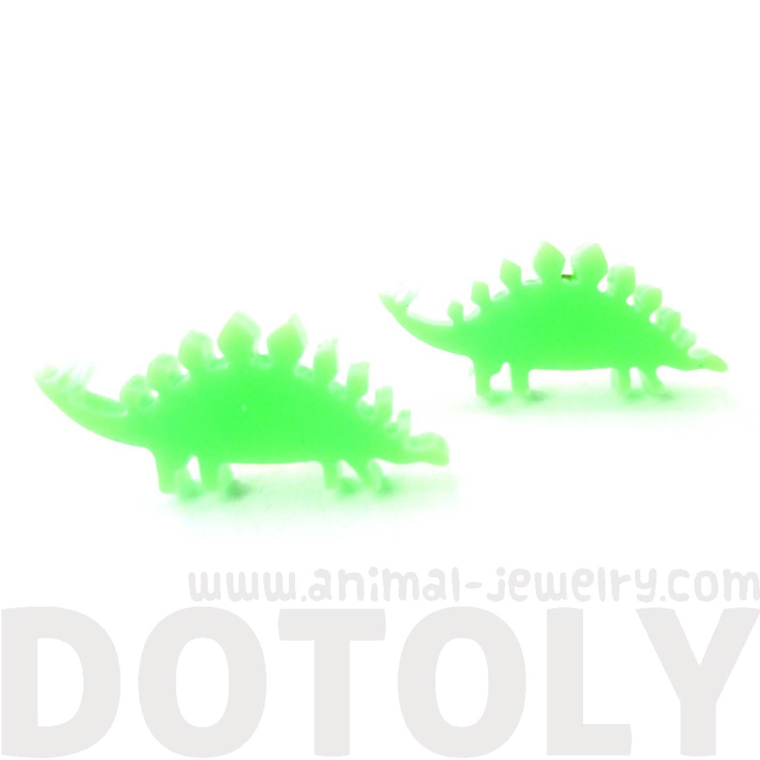 1100x1100 Stegosaurus Silhouette Dinosaur Shaped Laser Cut Stud Earrings
