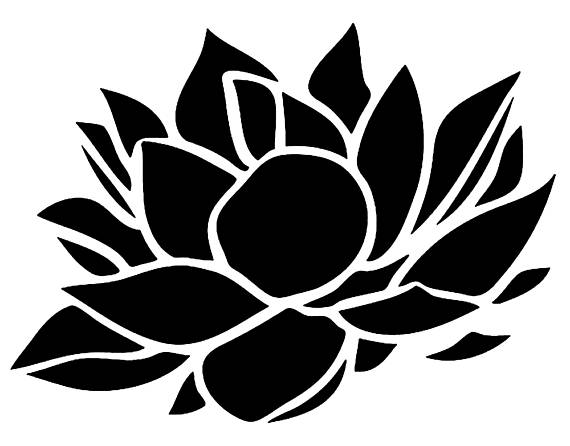 570x446 Stencil Floral Lotus Flower Stencil Decoration 5 Sizes Svg Pdf Png