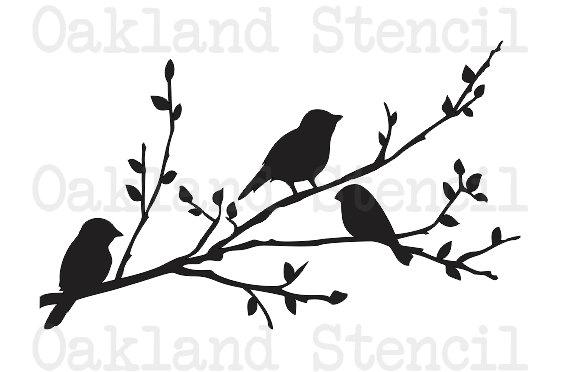 564x372 Birds On A Branch Silhouette Stencil 8 X 12
