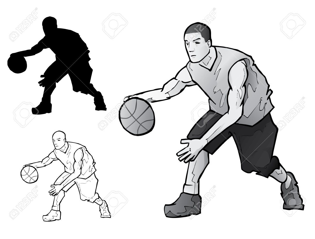 1300x987 7558888 Basketball Player Dribbling Stock Vector Silhouette