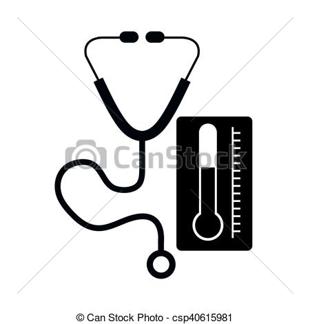 450x470 Stethoscope Medical Tool And Thermometer Icon Silhouette