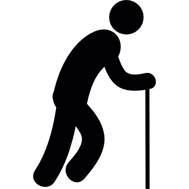 626x626 Standing Old Man Silhouette With A Walking Stick Icons Free Download