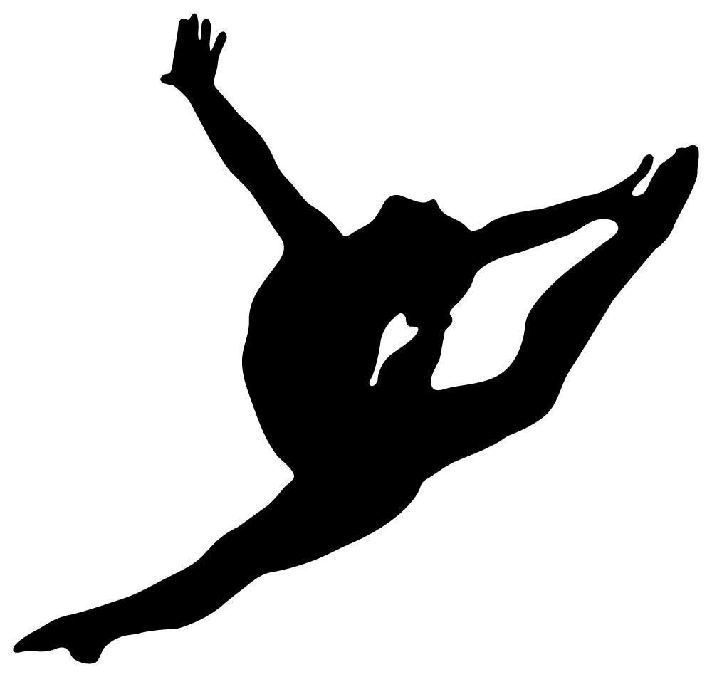 1000x951 Wallmonkeys Wm54227 Gymnastics Silhouette Style Graceful Leap Peel