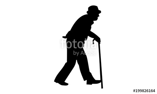 500x300 Grandpa's Silhouette Walked With A Stick. Stock Image And Royalty
