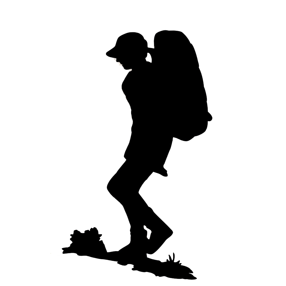 1001x1001 Hiker Silhouette Backpacking Vinyl Sticker Car Decal