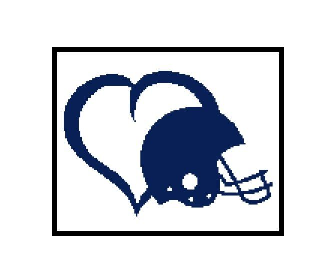 669x555 Football heart silhouette cross stitch pattern Cross Stitch